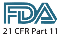 Logo de la Food and Drug Administration pour la norme 21 CFR Part 11